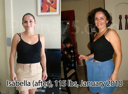 Isobella's weight loss while using Phen375