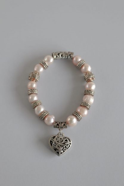 Pink Pearl and Bead Bracelet With Silver Heart