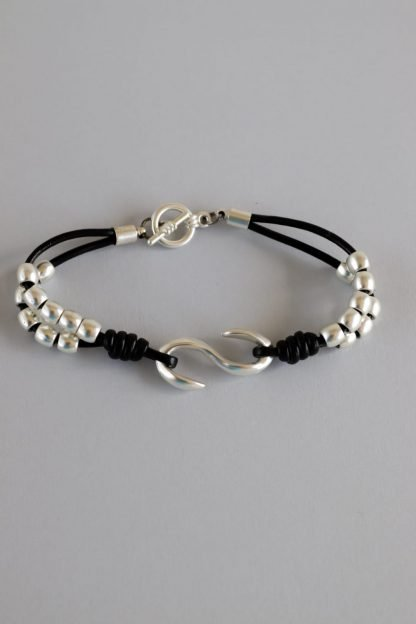 Beaded Faux Leather Bracelet With Silver Beads