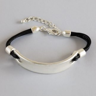 Faux Leather Cord Bracelet With Silver Element