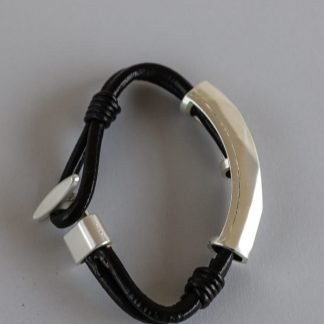 Bracelet Thick Faux Leather Cord With Silver Element