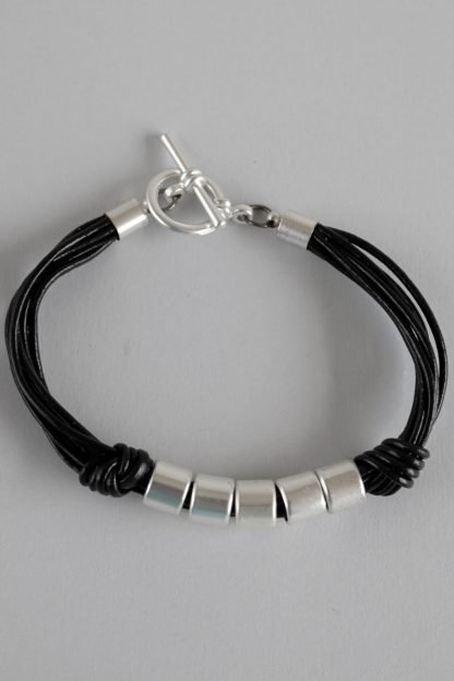 Multi Cord Bracelet With Silver Beads