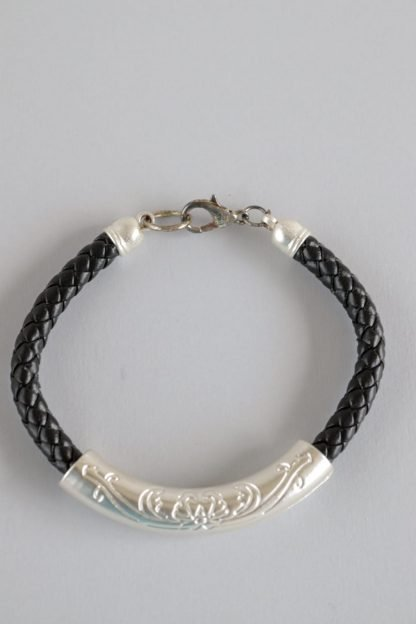 Braided Faux Leather Bracelet With Silver Sleeve