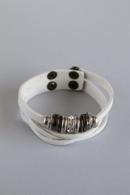 White Split Faux Leather Bracelet With Beads