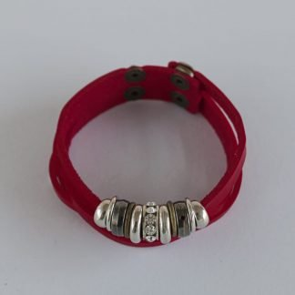 Red Split Faux Leather Bracelet With Beads