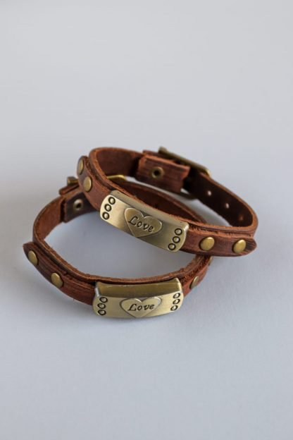 Couples Love Bracelets With Leather Strap