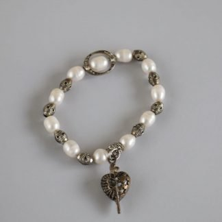 White Pearl and Bead Bracelet with Heart Charm