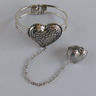 Silver Heart Bracelet With a Silver Heart Ring On a Silver Chain