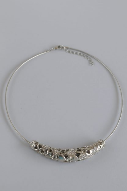 Silver Choker Necklace With Hearts