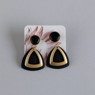 Earrings Faux Leather With Gold Elements