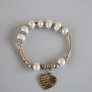 Pearl Bracelet With Engraved Heart