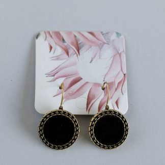 Gold and Faux Leather Round Medallion Earrings