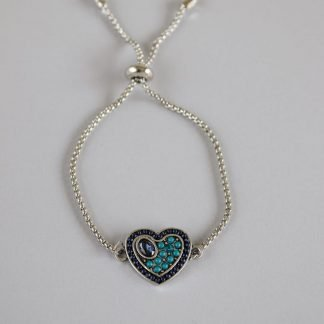 Stone Studded Heart Pendant on Silver Bracelet