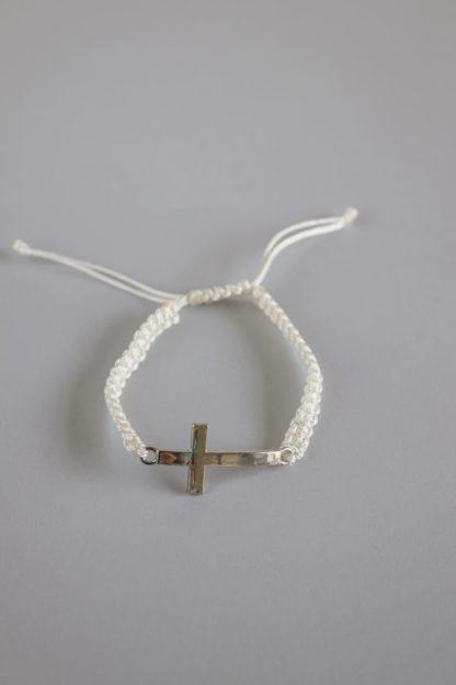 Macramé String Bracelet With a Silver Cross